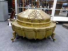 A PERSIAN HEAVY CAST AND PIERCED BRASS BRAZIER WITH DOME COVER, OVAL LOBED FORM WITH SCROLL FEET. H.