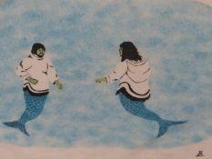 INUIT ART. ANDREW KARPIK / ANANAISEE ALIKATUKTUK (PANGNIRTUNG, 20th.CENTURY). MAN AND WIFE. PENCIL