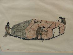 INUIT ART. SOLOMON KARPIK (PANGNIRTUNG 1947-) MAKING TENT FOR WINTER, PENCIL SIGNED AND NUMBERE
