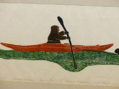 INUIT ART. THOMASEE ALIKATUKTUK (PANGNIRTUNG 1953 - ****). SUMMER HUNTING. PENCIL SIGNED AND NUMBE