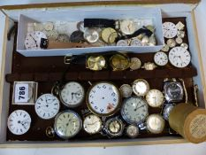 VARIOUS POCKET WATCHES, WRISTWATCH HEADS, MOVEMENTS ETC. (QTY)