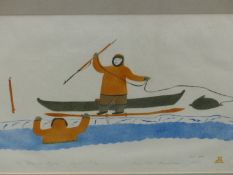 INUIT ART. TOMMY EEVIK (PANGNIRTUNG 1951 -) THE STORY OF KUPAG, PENCIL SIGNED AND NUMBERED