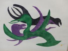 INUIT ART. MYRA KUKIYAUT (BAKER LAKE, 1929 - ****). PLAYFUL CREATURES, PENCIL SIGNED AND NUMBERED