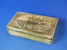 A BONE AND SCRIWSHAW DECORATED SMALL TABLE BOX DEPICTING SAILING SHIP IN HIGH SEAS.10 CM WIDE