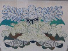 INUIT ART. KENOJUAK (DORSET 1927 - ****). OWL OF THE SEA, PENCIL SIGNED AND NUMBERED 140/200.