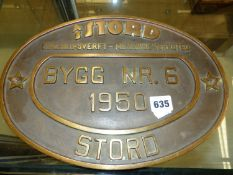 STORD, NORWAY, AN OVAL BRONZE MECHANICAL WORKSHOP PLATE, THE CENTRE WITH BYGG (BUILDING) NR. 6 1950.