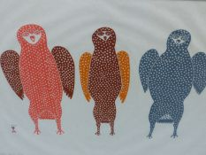 INUIT ART. TEEVEE JAMASIE (DORSET 1910- ****) THREE YOUNG OWLS. PENCIL SIGNED AND NUMBERED 48/50.