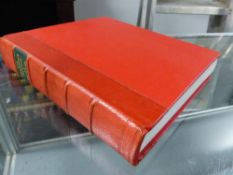THE TREASURE HOUSES OF BRITAIN SIGNED BY GERVASE JACKSON-STOPS 1986, QUARTER BOUND IN RED LEATHER.