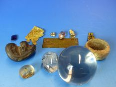 A COLLECTION OF RELIQUARIES, A QUARTZ SEAL, RUTILE NEEDLE INCLUDED EGG, SKULL BEAD, FOSSILISED AND