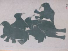 INUIT ART. EGYUVELLO (20th.CENTURY). WALRUSES AT PLAY, PENCIL SIGNED AND NUMBERED 8/50. 1964.