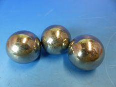 THREE RARE TRIOLITE SAMPLED METEORITE SPECIMINS,, GIBEON -SOUTH AFRIA- LASER CUT TO SPHERES BY