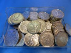 A COLLECTION OF COINS , PRINCIPALY FRENCH FRANCS.
