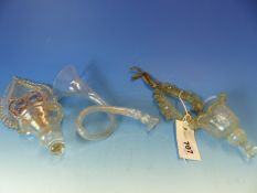 THREE PIECES OF ANTIQUE BLOWN GLASS, TWO SMALL HANGING POCKETS AND A HORN (6).