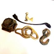 TWO ROMAN BRONZE SMALL CLASPS, AN EASTERN SPICE SPOON, A SMALL EASTERN BIRD FORM SCALE WEIGHT AND