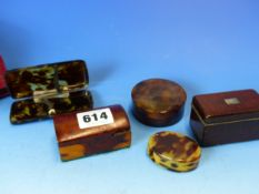 THREE SMALL ANTIQUE TORTOISHELL BOXES, A TORTOISHELL FOLDING MAGNIFYING GLASS AND TWO MINITURE TREEN