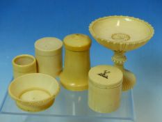 A 19TH CENTURY IVORY CARVED CHALICE, A SMALL BOWL, THREE LIDDED ROUND BOXES, A SALT SHAKER AND A