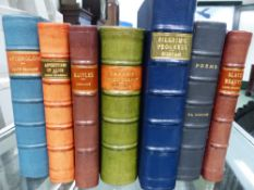 SEVEN LEATHER QUARTER BOUND OCTAVO BOOKS BY BUNYAN, GORDON, SEWELL, HORNUNG, LONGFELLOW, THOMSON AND