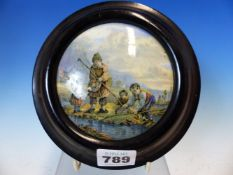 A 19TH CENTURY POTTERY POT LID IN EBONISED FRAME