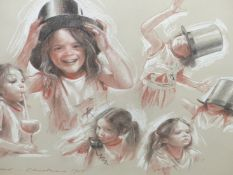 COLIN FROOMS. (1933-2017) ARR. STUDIES OF CHILDREN, PASTEL SIGNED AND DATED CHRISTMAS 1985, FRAMED