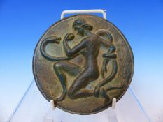 AN ANTIQUE CONTINENTAL POSSIBLY ITALIAN BRONZE ROUNDEL DEPICTING EVE WITH APPLE AND THE SERPENT.