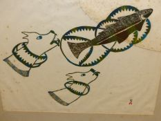 INUIT ART. PUDIO (DORSET 1916 - ****). CHASING FISH. PENCIL SIGNED AND NUMBERED 48/50. 1975. COLOU