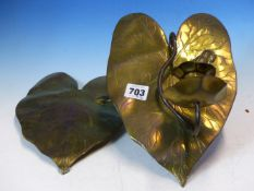 AN UNUSUAL PAIR OF BRASS ARTS AND CRAFTS HANGING CANDLE SCONCES, LILY PAD BACKPLATES WITH FROG AND