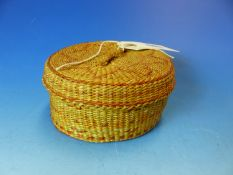 AMERICAN INDIAN SMALL CIRCULAR COVERED BASKET CONTAINING COASTERS. D. 12cms.