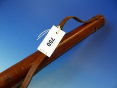 A LEATHER CASED ORVIS THREE PIECE SPLIT CANE FISHING ROD, THE CASE WITH CARRYING STRAP. H 71.5cms.