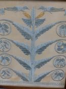AN ARTS AND CRAFTS SILKWORK PANEL OF STYLISED FOLIATE MOTIFS MOUNTED AS A FIRESCREEN, TOGETHER