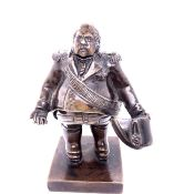 """AN ANTIQUE PATINATED BRONZE FIGURE OF LOUIS XVIII """" LE DESIRE"""" KING OF FRANCE. ON SQUARE PLINTH"""