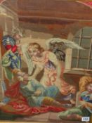 A VICTORIAN NEEDLEPOINT PANEL OF AN ANGEL AND OTHER FIGURES WITHIN AN ARCHITECTURAL SETTING. 54 x