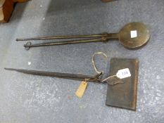 TWO EARLY CAST AND WROUGHT IRON WAFFERING IRONS. ONE WITH PRINCE OF WALES DESIGN, THE OTHER WITH A