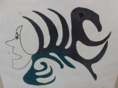INUIT ART. KUKIYAUT (20th.CENTURY). MYSTICAL FIGURE. PENCIL SIGNED AND NUMBERED 19/55, COLOUR PR