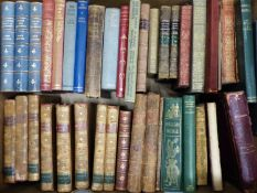 A COLLECTION OF LEATHER BOUND AND OTHER BOOKS, TO INCLUDE: EIGHT VOLUMES OF THE SPECTATOR, JANE