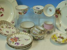 A COLLECTION OF DRESDEN FLORAL TEA WARES, A PAIR OF ROSENTHAL FLORAL PLATES AND TWO OTHERS ENGLISH.
