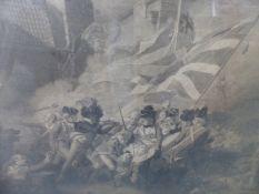 AN ANTIQUE FOLIO PRINT. THE DEATH OF MAJOR PIERSON AFTER J.S. COPLEY 68 x 90cms.