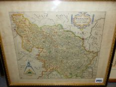 AFTER CHRISTOPHER SAXON. AN ANTIQUE HAND COLOURED MAP OF EBORANSIS. 32 x 40cms TOGETHER WITH AN