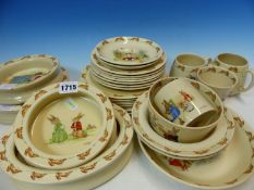 A COLLECTION OF ROYAL DOULTON BUNNYKINS WARES WITH BARBARA VERNON'S NAME BY THE PRINTED IMAGES