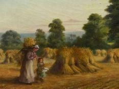 LATE 19th.C.ENGLISH SCHOOL. THE HAYFIELD, SIGNED INDISTINCTLY AND DATED, OIL ON CANVAS. 36 x 67cms.