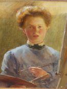 19/20th.C.ENGLISH SCHOOL. PORTRAIT OF AN ARTIST, OIL ON CANVAS. 36 x 31cms.