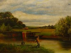 19/20th.C.ENGLISH SCHOOL. FISHING BY THE LOCH, MONOGRAMMED OIL ON CANVAS. 42 x 62cms.
