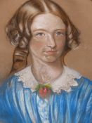 19th.C.ENGLISH SCHOOL. OVAL PORTRAIT OF A YOUNG LADY, PASTEL. 59 x 48cms, TOGETHER WITH TWO OTHER