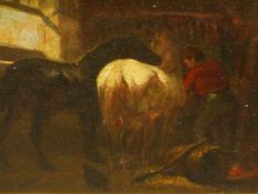 19th.C.ENGLISH SCHOOL. IN THE STABLE, OIL ON METAL PANEL. 14 x 18.5cms.