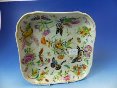 A CANTON PAINTED SQUARE DISH, BUTTERFLIES, FRUIT AND FLOWERS WITHIN THE GILT RIM. W 23.5cms.