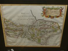 AFTER JOHN SPEED. AN ANTIQUE HAND COLOURED MAP OF YORKSHIRE. 42.5 x 53cms TOGETHER WITH TWO