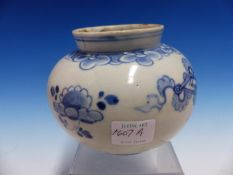 AN EARLY BLUE AND WHITE JAR DECORATED WITH SYMBOLS, H 12cms.