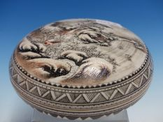 A CHINESE CIRCULAR COVERED BOX, DECORATED WITH A WINTER LANDSCAPE AND INSCRIPTION, CHARACTER MARK