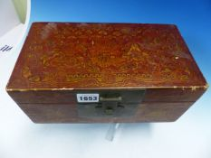 A CHINESE RED LACQUER BOX, THE EXTERIOR AND INTERNAL TRAY GILT WITH FIGURES IN ISLAND LANDSCAPES,