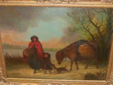 19th.C.ENGLISH SCHOOL. ON THE ROAD, SIGNED INDISTINCTLY, OIL ON CANVAS. 50 x 69cms.