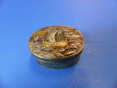 A JAPANESE COPPER AND GOLD INLAID WHITE METAL OVAL BOX, THE LID WORKED WITH A SHIP UNDER SAIL AND